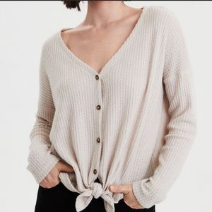 AE Waffle Knit Tie Front Sweater